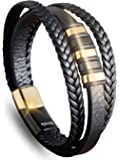 My Strong Stylish Handmade Leather Bracelet with Magnetic Clasp Stainless Steel | Fashion Multi-Layer Leather Cuff Bracelet with Steel Inlays for Men & Women, Best Gift, Black