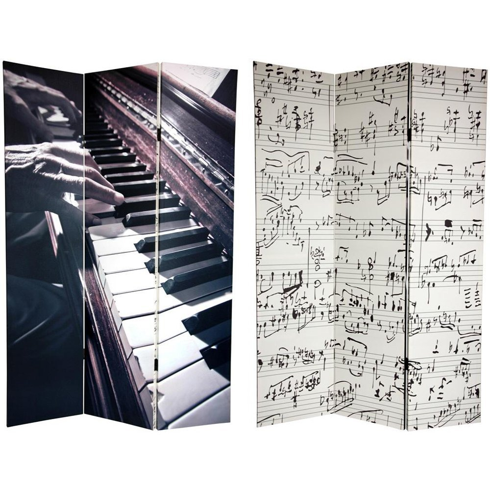 Oriental Furniture 6 ft. Tall Double Sided Music Canvas Room Divider