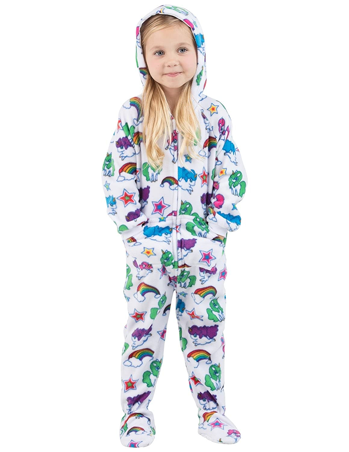 Amazon.com  Footed Pajamas - Rainbows N  Unicorns Toddler Hoodie Fleece  Onesie - Small  Clothing d07f61fe4