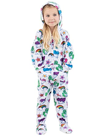 7b746cb1fd4d Footed Pajamas - Rainbows N  Unicorns Toddler Hoodie Fleece Onesie - Small