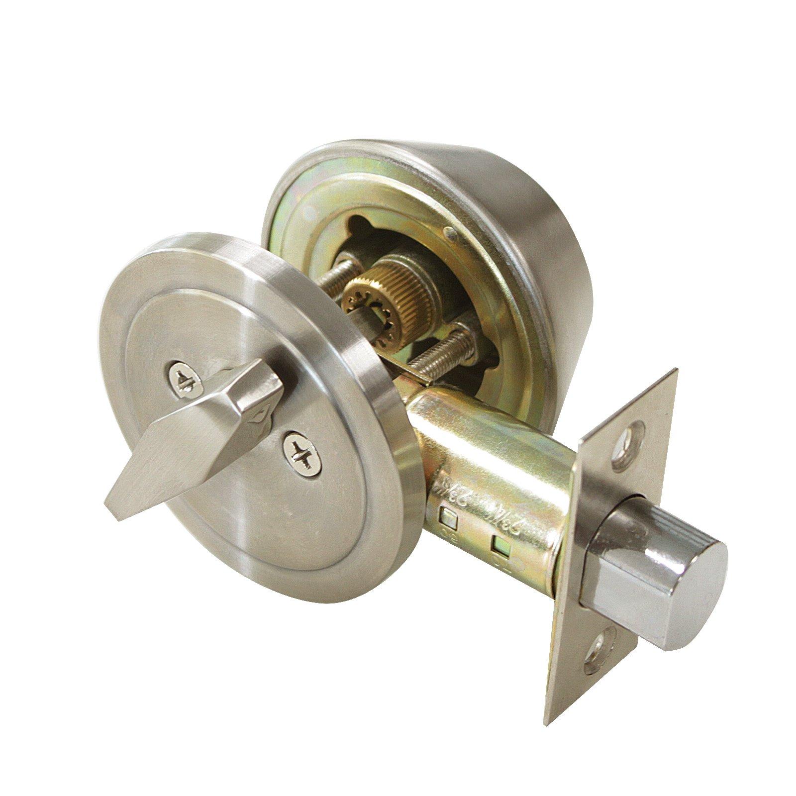 3 Pack Probrico Interior Bedroom Single Cylinder Deadbolt One Keyway Keyed Alike Same Key Safety Bolt Door Lock Lockset in Satin Nickel-Single Deadbolt-101 by Probrico (Image #2)