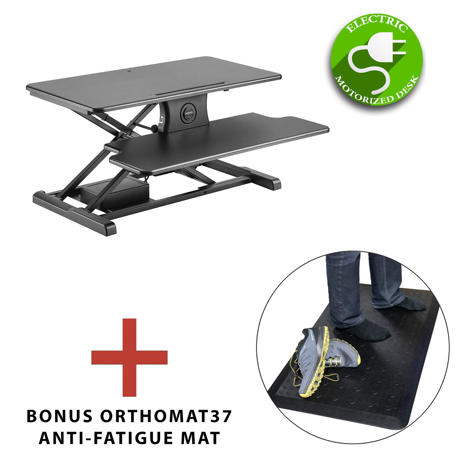 Boost Industries STS-DR Premium Sit to Stand Desk Riser/Monitor Stand with OrthoMat Anti-Fatigue Non-Slip Standing Mat (Black - Motorized/Electric, 35 Standard Depth (STS-DR35M)) STS-DR35M Orthomat Bundle