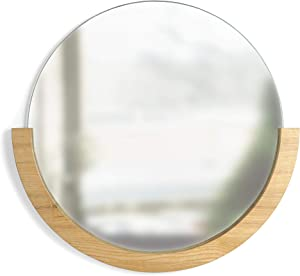 """Umbra 358778-390 Mira Wall Mirror, Decorative Mirror for Entryway, Circular Mirror with Wood Frame on the Bottom Half, Natural Finish,22.5"""" Diameter x 21"""" Height x 1"""" Width"""