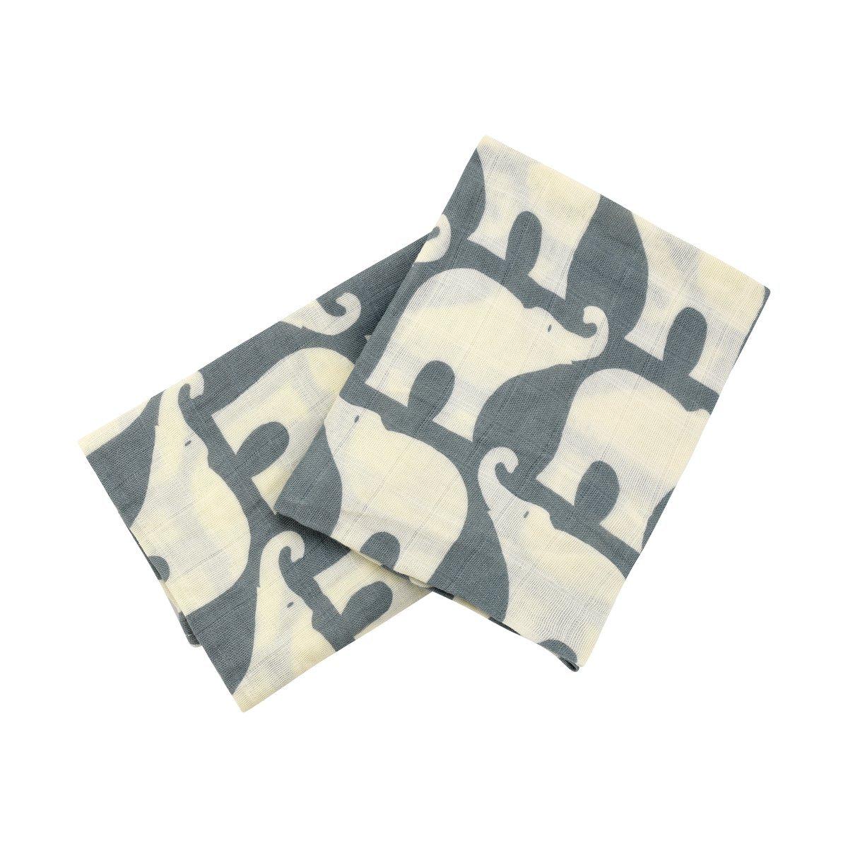 Milkbarn Organic Cotton Burp Cloths''Blue Elephant'' - Set of Two by MilkBarn