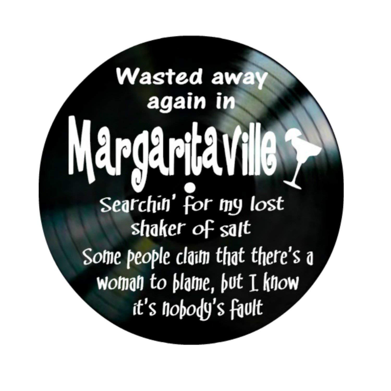 Jimmy Buffet Margaritaville song lyrics on a Vinyl Record Album Wall Art