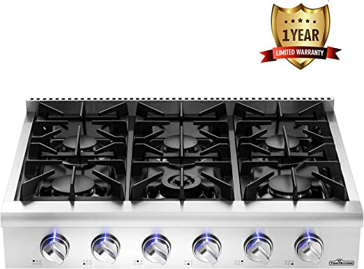 Thor kitchen Pro-Style Gas Rangetop with 6 Sealed Burners 36 Inch LP Conversion Kit Stainless Steel HRT3618U