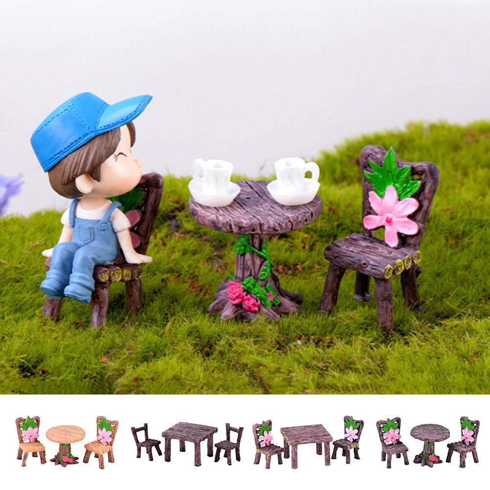 Amazon.com: Floralby 3Pcs/Set Miniature Fairy Garden Table ...