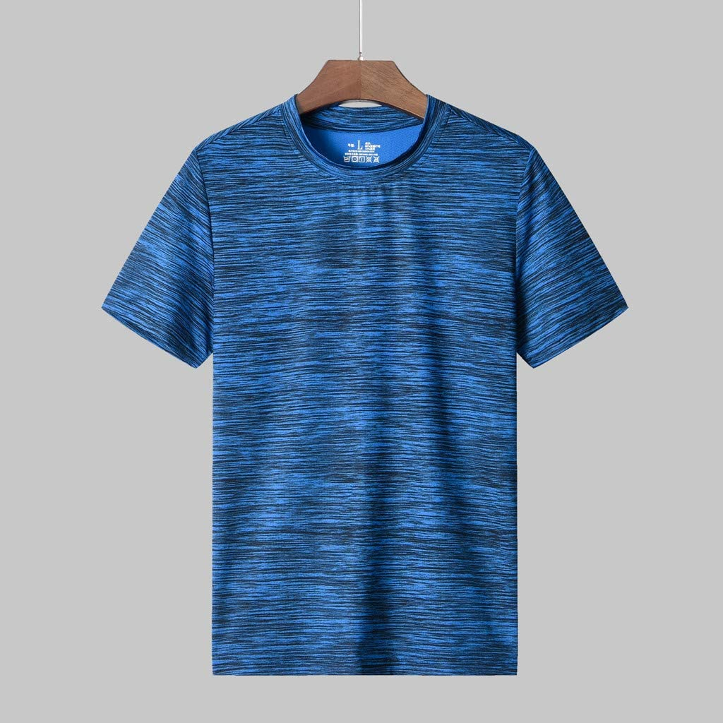 Mens Summer Casual Stripe T-Shirt O-Neck Fitness Sport Quick-Dry Breathable Top