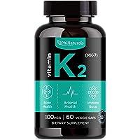 Vitamin K2 - MK7 - K2 100mcg - K2 Natto Supplement Complex - Support Bone Health Heart Teeth - Non-GMO Made in USA (60 Easy To Swallow Small Capsules)