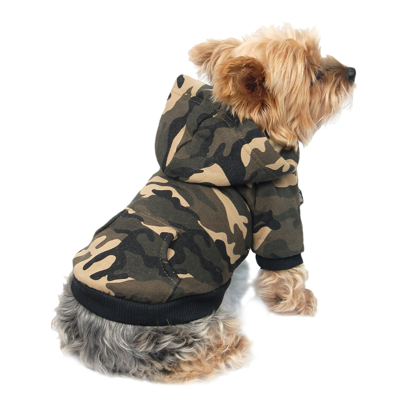 Anima Dog and Pet Hoodie Sweatshirt, Small, Camo Green