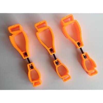 3x Orange Glove Grabber Clip Holder Guard Work Safety Clip Glove Keeper