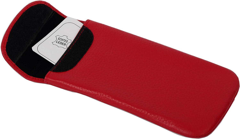 gro/ßem Mikrofasertuch ! Hochwertiges Brillenetui weiches Einstecketui rot aus echtem Leder mit Klettverschluss und innen mit weichem Samt ausgef/üttert Gr/ö/ße 170 x 80 mm inkl