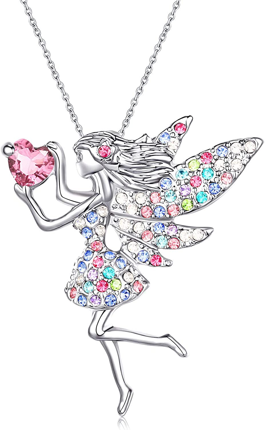Amazon Com Fairy Necklace For Little Teen Girls Silver Cubic Zirconia Crystal Pandent Jewelry Cute Daughter Birthday Gifts Clothing