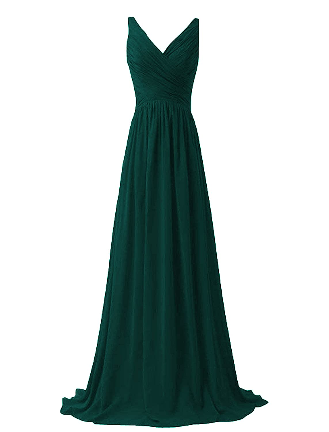 ANFF Women's Long Evening Gowns Formal Party Prom Dress V Neck Bridesmaid Dress NB029
