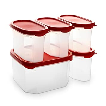 bino 10piece airtight stackable kitchen storage container pantry set red - Kitchen Storage Containers