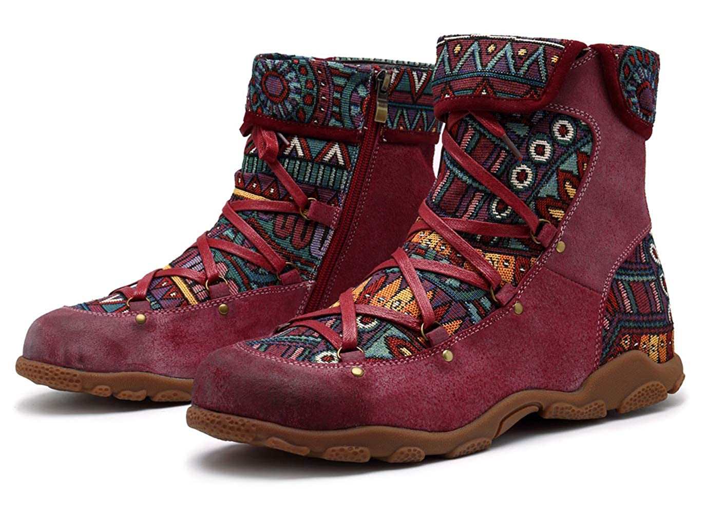 Honeystore Womens Booties Shoes Side Zipper Leather Boots Retro Boho Carving Print Round Toe