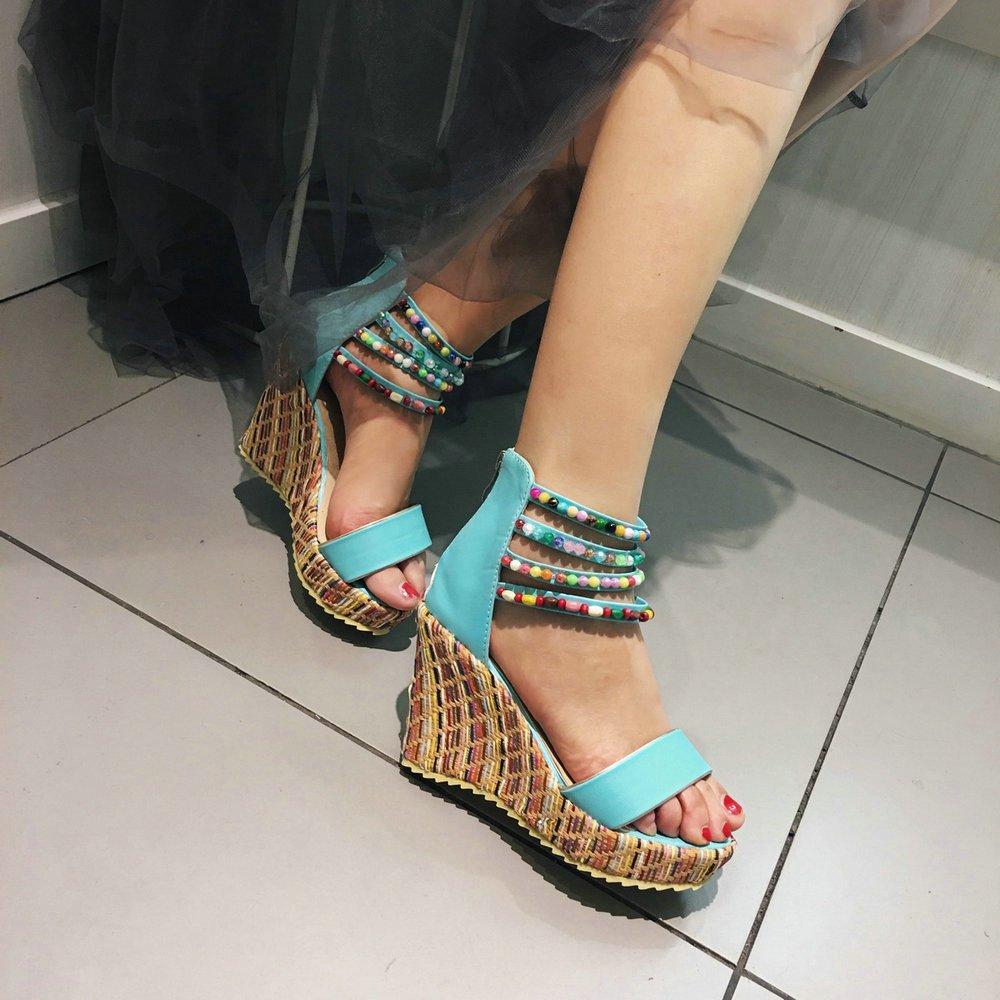 Women Wedge Sandals Fashion Platform Open Toe Summer Bohemia Strap Beaded Beads Espadrille Shoes B07CSLLPNY 7.5 B(M) US|Blue