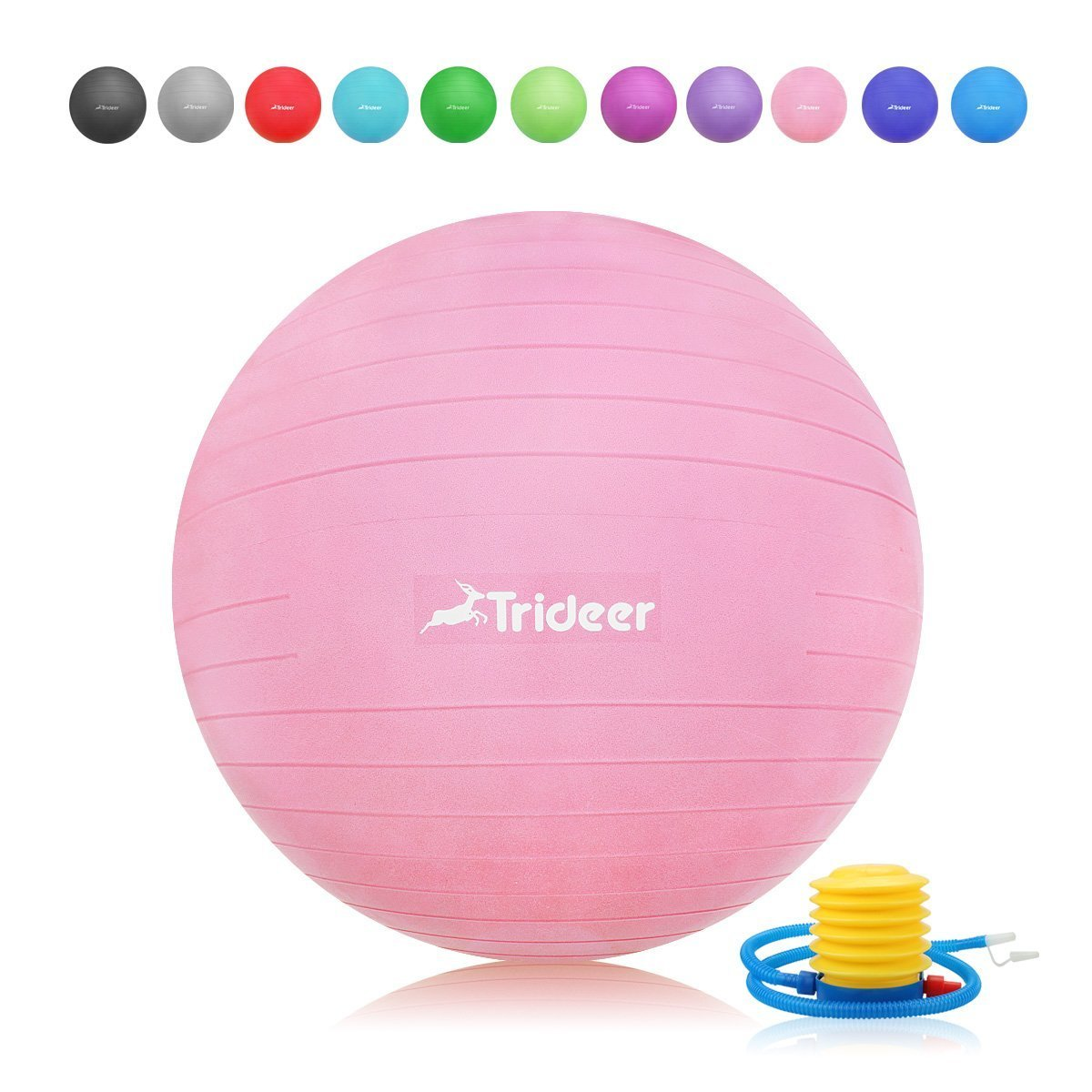 Trideer Exercise Ball, Yoga Ball, Birthing Ball with Quick Pump, Anti-Burst & Extra Thick, Heavy Duty Ball Chair, Stability Ball Supports 2200lbs (Office&Home) (Pink, M (48-55cm))