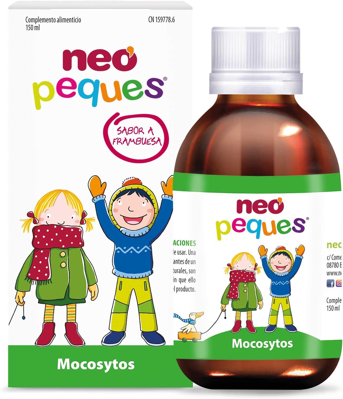Neo Peques   Mocosytos Jarabe Infantil Para la Tos Seca y Productiva   Expectorante   Cuida la Garganta de Niños   150 ml   Sabor Frambuesa   Pino, ...