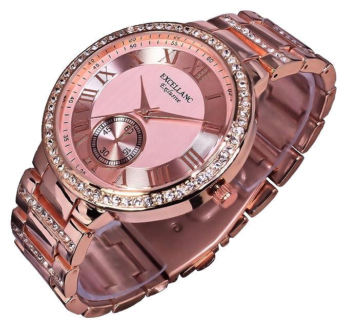 Excellanc llanc Mujer Reloj Reloj de pulsera Rose Gold Colores 154035500016 ro6: Amazon.es: Relojes