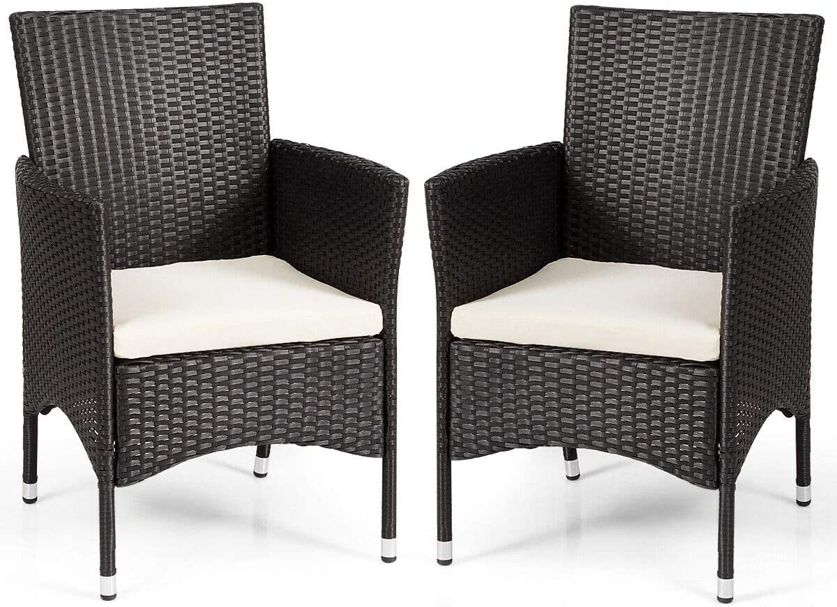 (2 Pack) Black Balcony PE Rattan Wicker Ergonomic Armchair Dining Single Chair Set Patio Furniture w/White Cushion Cover with Ebook 71tsJmp6W3LSL1200_
