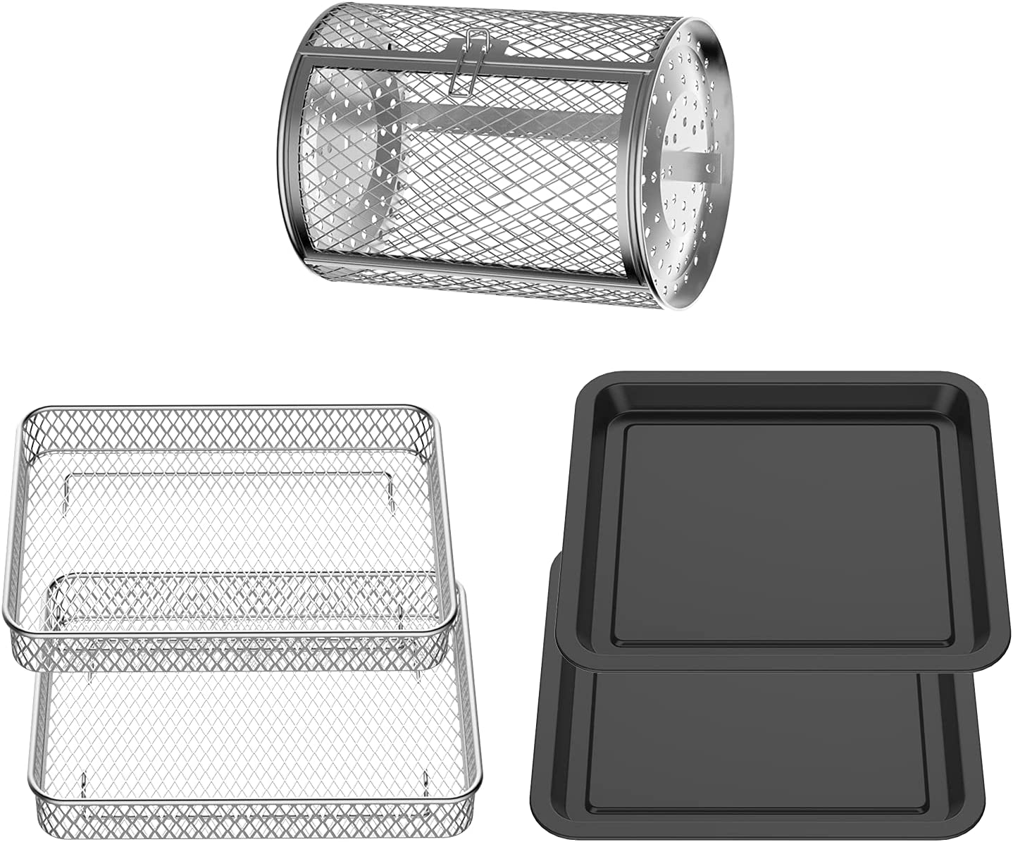 USBLUEWAVE 5-Pieces Air Fryer Oven Accessories Kit for Multi Brands, Rotisseries Drum|Air Fryer Basket| Baking Tray, Easy Clean, Black&Silver