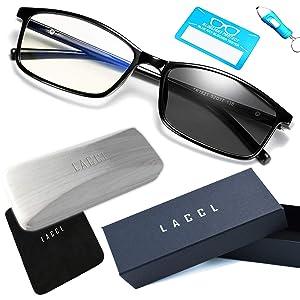 LACCL (ラクル) ブルーライトカット 調光メガネ 3イン1 軽量 17グラム 伊達眼鏡 メンズ 度なし UV 90%以上 005