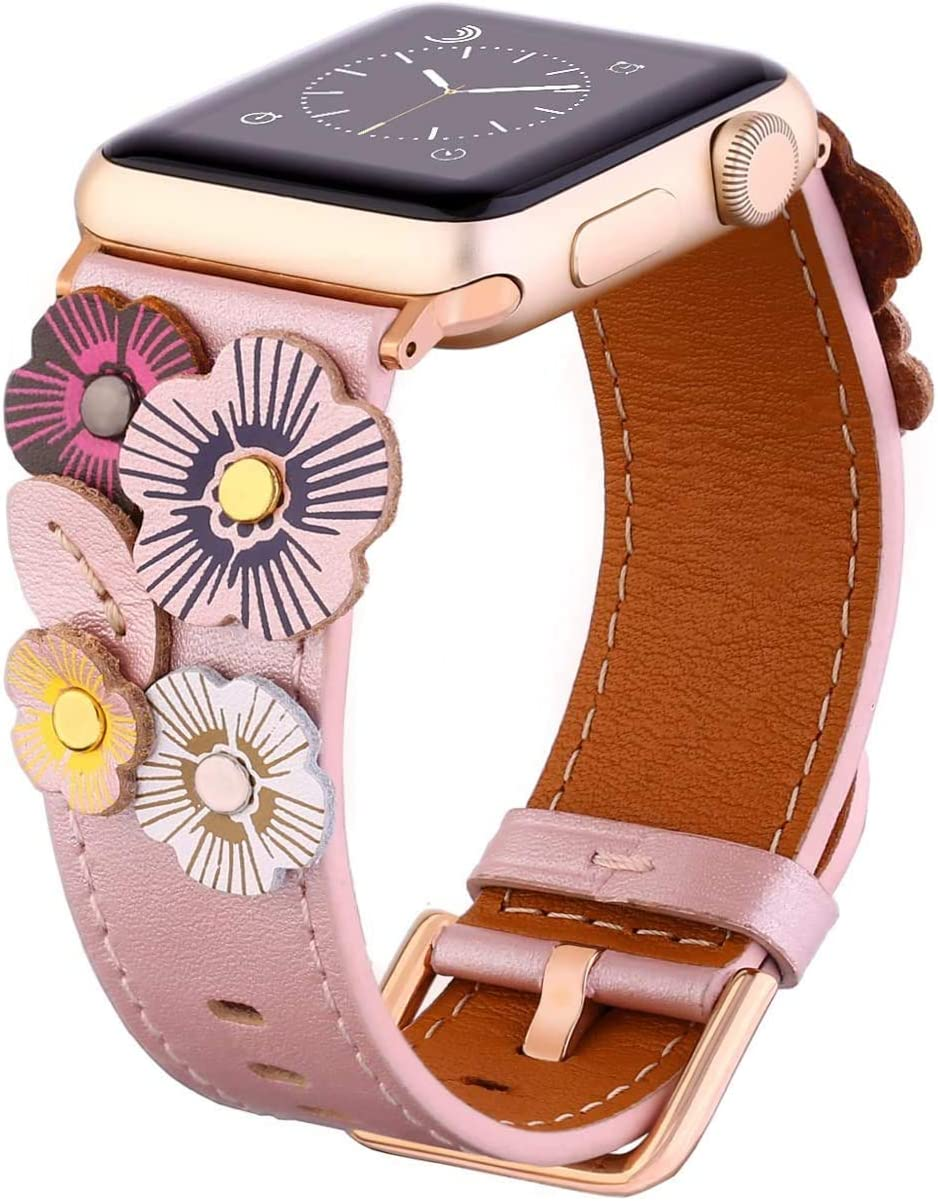 Faytop Genuine Leather Strap Compatible for Apple Watch Band 38mm Series 3/2/1 Women,3D Handmade Flower Strap for Apple Watch Band 40mm Series 4/5 with Buckle/Adapter Pink