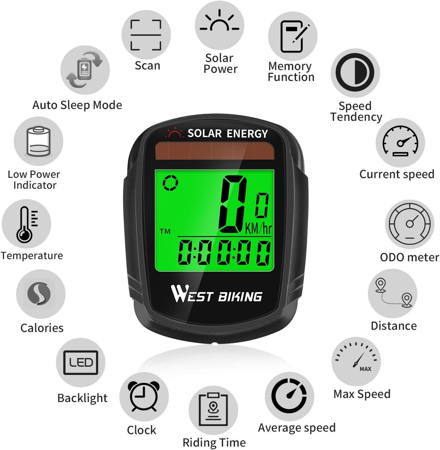 Temps Temp/érature etc DSNOW Ordinateur de v/élo sans fil /étanche Compteur de Vitesse avec r/étro/éclairage et Multifonction Vitesse Suivi Distance