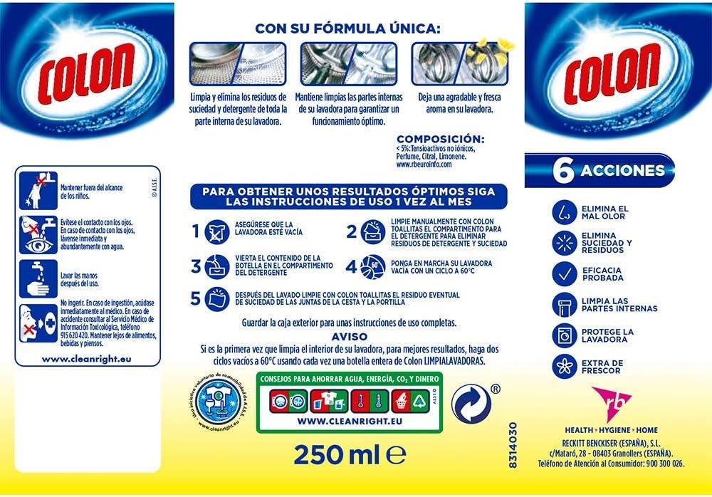 Colon Limpia Lavadoras Limón - 250 ml: Amazon.es: Amazon Pantry