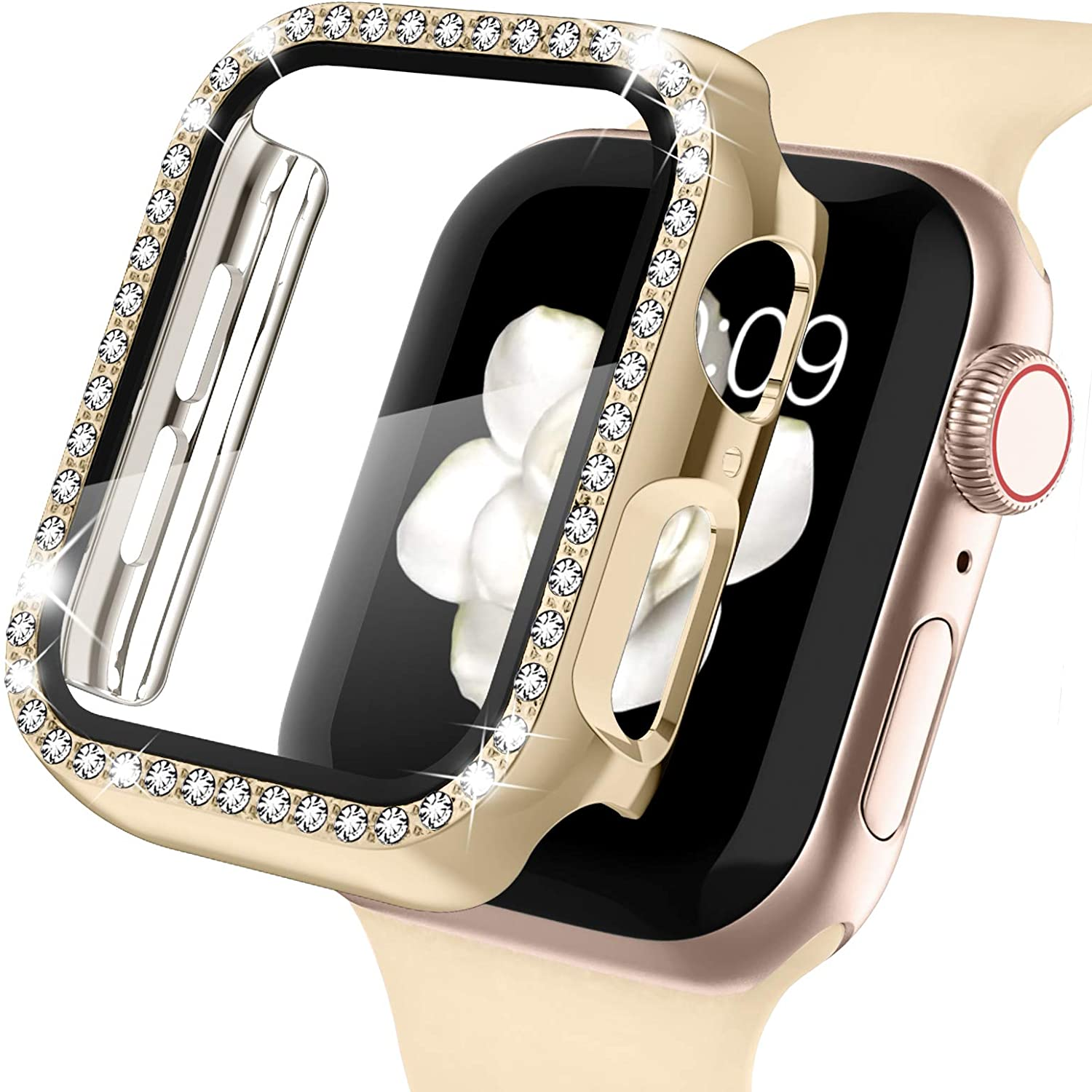 Recoppa Apple Watch Case with Screen Protector for Apple Watch 42mm Series 3/2/1, Bling Crystal Diamond Rhinestone Ultra-Thin Bumper Full Cover Protective Case for Women Girls iWatch Champagne Gold