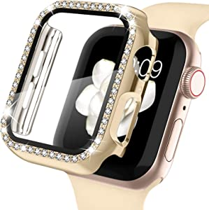 Recoppa Apple Watch Case with Screen Protector for Apple Watch 44mm Series 6/5/4/SE, Bling Crystal Diamond Rhinestone Ultra-Thin Bumper Full Cover Protective Case for Women Girls iWatch Champagne Gold
