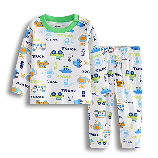 54f1fe7de5 Hooyi Boys Sleepwear Truck Boat Sleep Sets Long Home Clothing Pajamas (70(3-