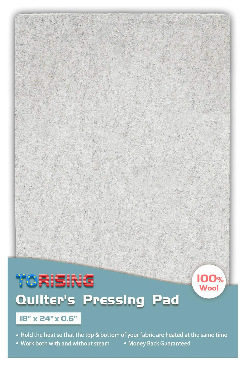 18' x 24' x 0.6' Wool Ironing Quilter's Pressing Pad Mat- 100% Wool for Professional Ironing| Portable Quilting Heat Press Pad for Traveling, Camping, College| Top Craft, Sewing, Embroidery Iron Pad Torising