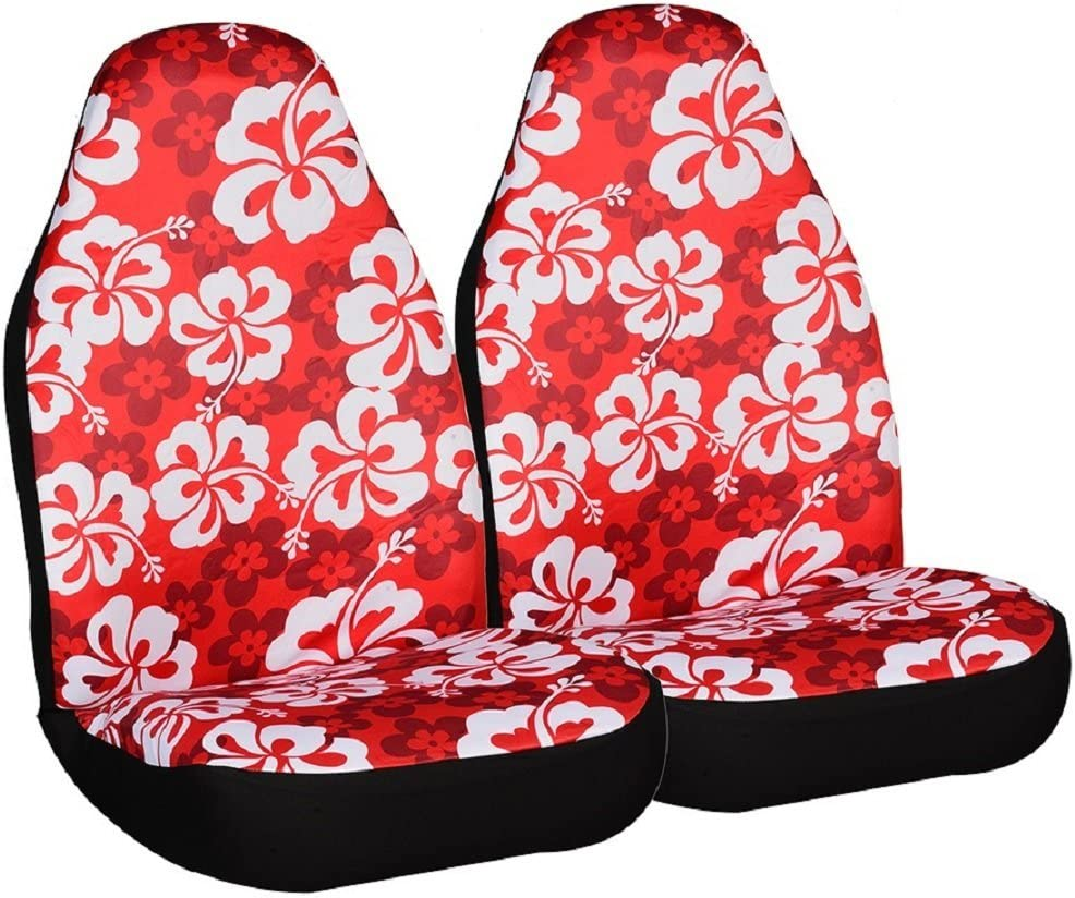 Allison 67-0346RED Red Hawaiian Print Universal Bucket Seat Cover Pack of 2