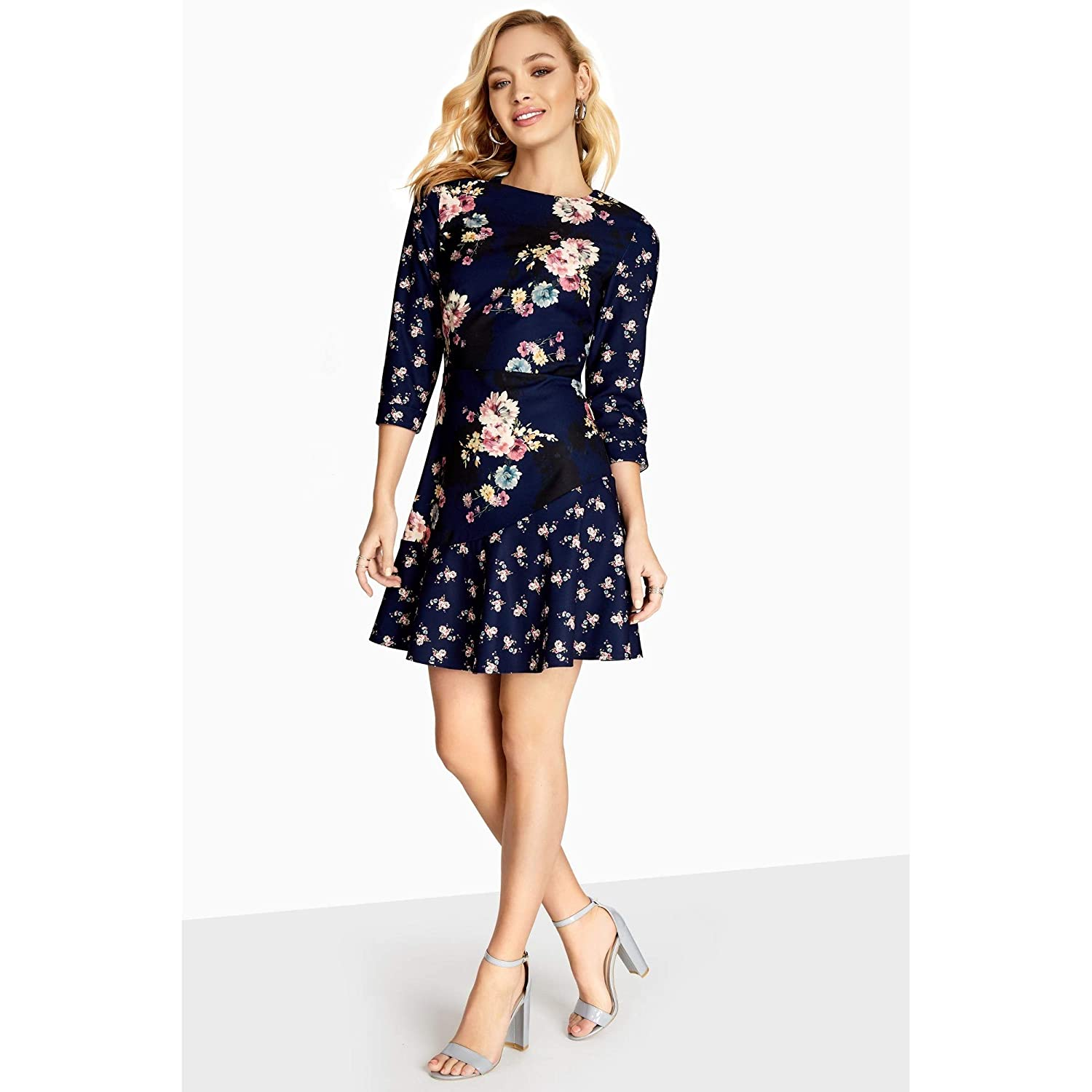 Little Mistress Womens/Ladies Amber Mixed Floral Shift Dress: Amazon.co.uk: Clothing