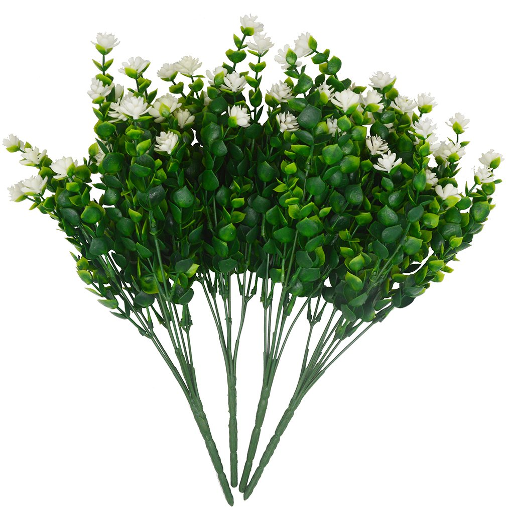 Beebel Artificial Flower Greenery Plants for Home Kitchen Dining Room Hanging Planter Garden,4 Bundles/White by Beebel (Image #3)