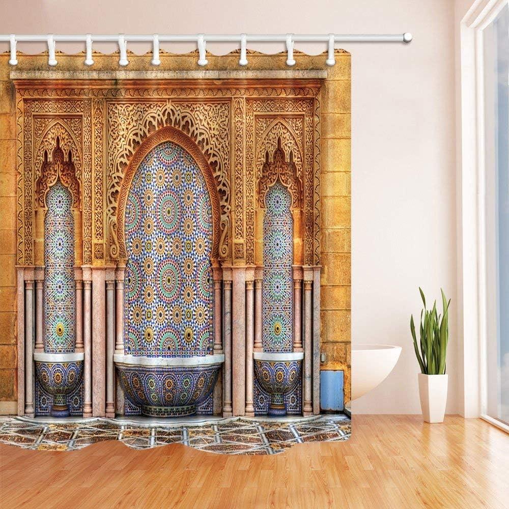 gwegvhvg Fuente en el Mausoleum de Mausoleum de Mahoma V en Rabat Marruecos Cortina de Ducha Resistente al Agua poliéster Tela Decoraciones 180 x 180 cm