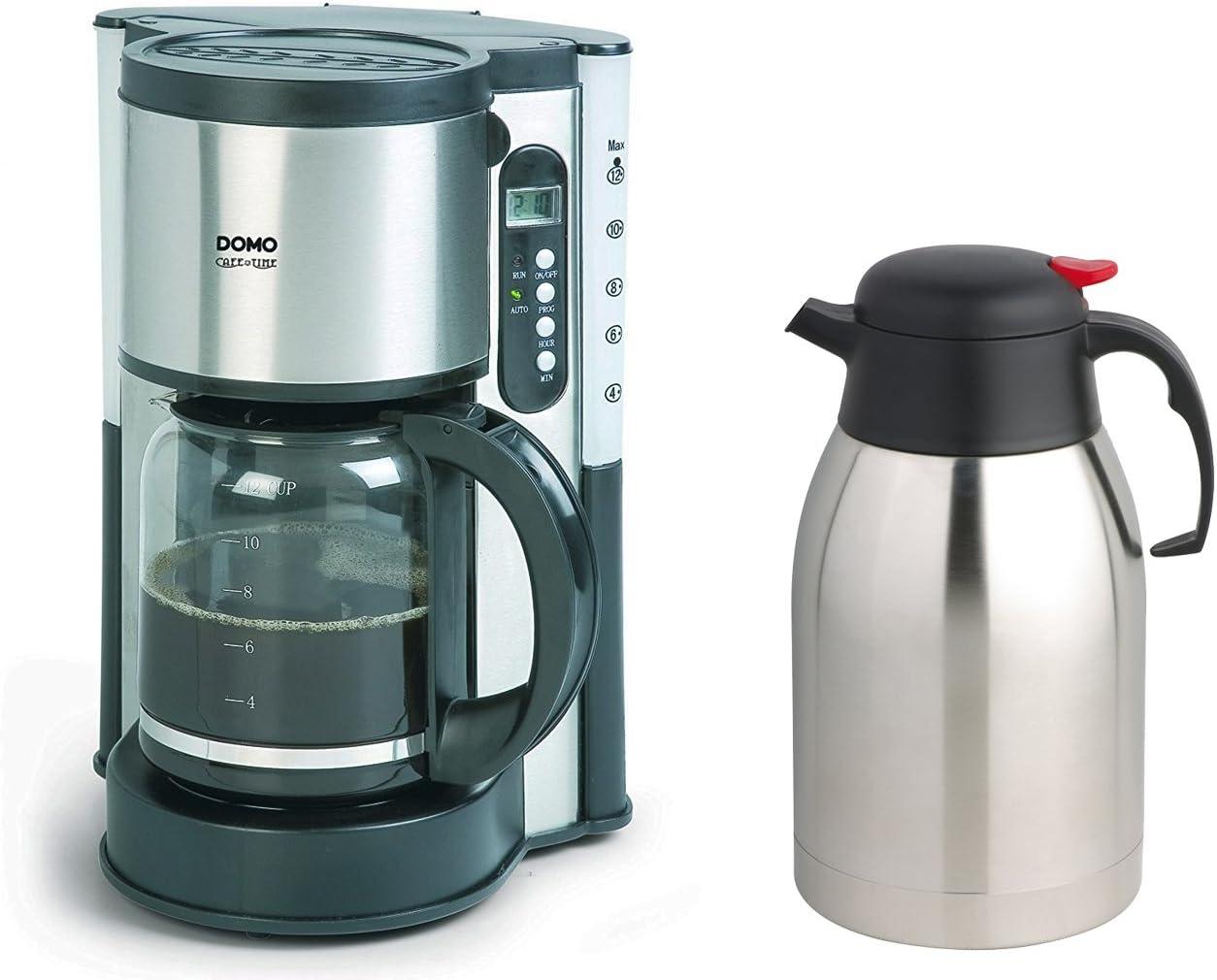 Acero inoxidable Cafetera con Temporizador y adicionales de termo cada uno para 12 tazas café de filtro, depósito de agua desmontable y placa calentadora: Amazon.es: Hogar