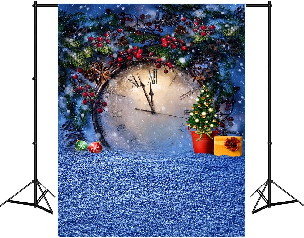 Mehofoto 5X7ft Polyester Blue Christmas Photo Photography Backdrops Snowflake Leaves Clock Tree Photo Background Studio Props