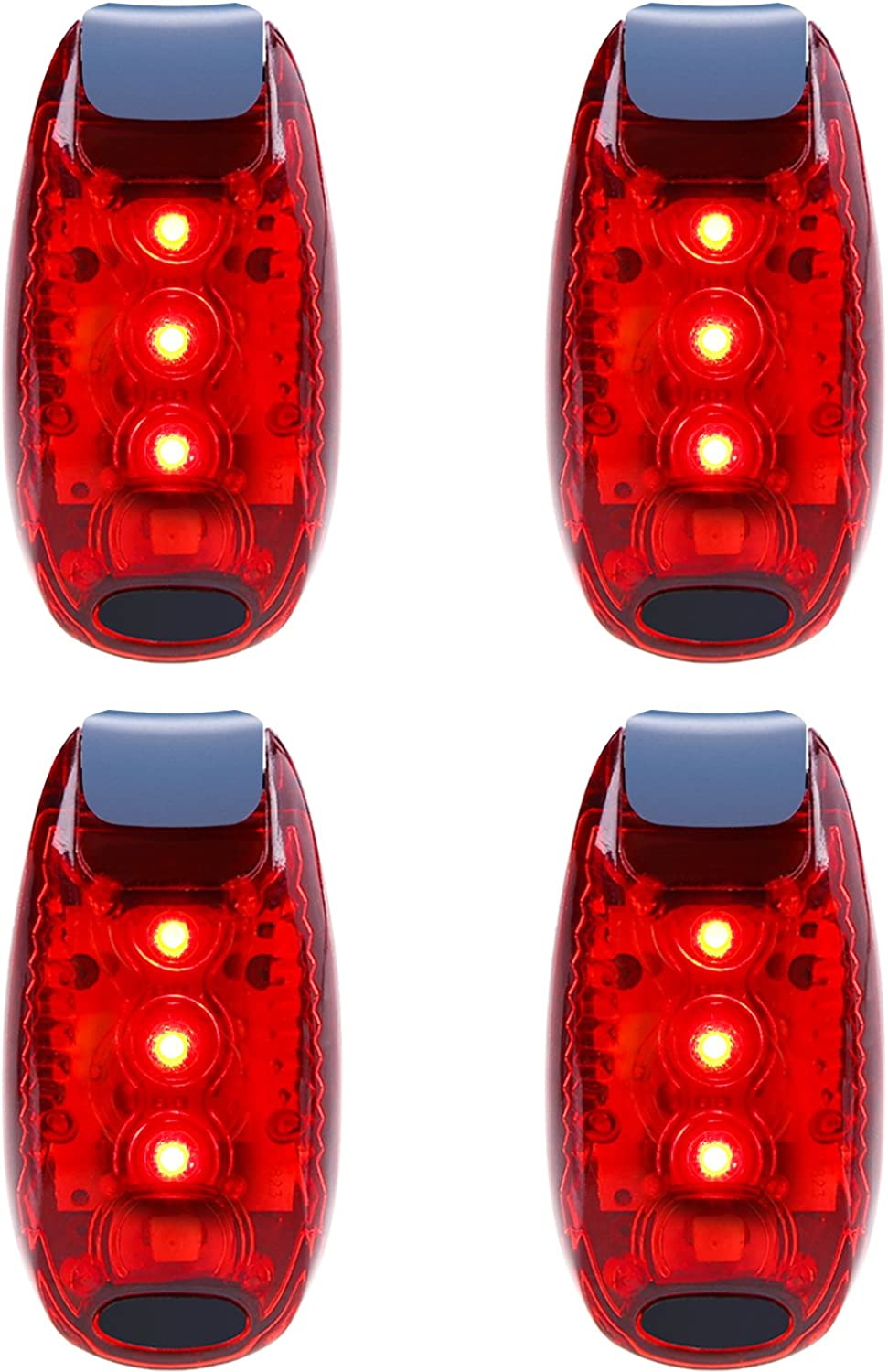 Belia E lucvy LED Safety Light 4 Pack Waterproof Red Flashing Bike Rear Tail Light with Free Clip on Velcro Straps for Running, Walking, Cycling, Helmet etc