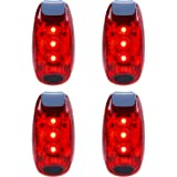 LED Safety Light (4 Pack) Refun Waterproof Red Flashing Bike Rear Tail Light with Free Clip on Velcro Straps for Running, Walking, Cycling, Helmet etc