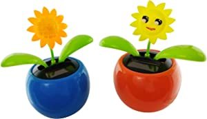 Solar Powered Flower Dancing Toys | Orange Marigold and Yellow Sunflower Decoration | Car Dashboard Decorations or | Eco-Friendly Solar Dancing Flowers (2 Pack)