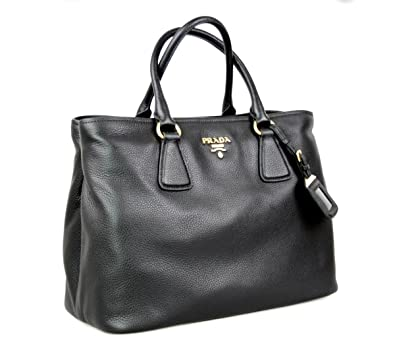 Prada Women s 1BA794 UWL F0002 Black Leather Shoulder Bag  Handbags ... 7c861f2d35a74