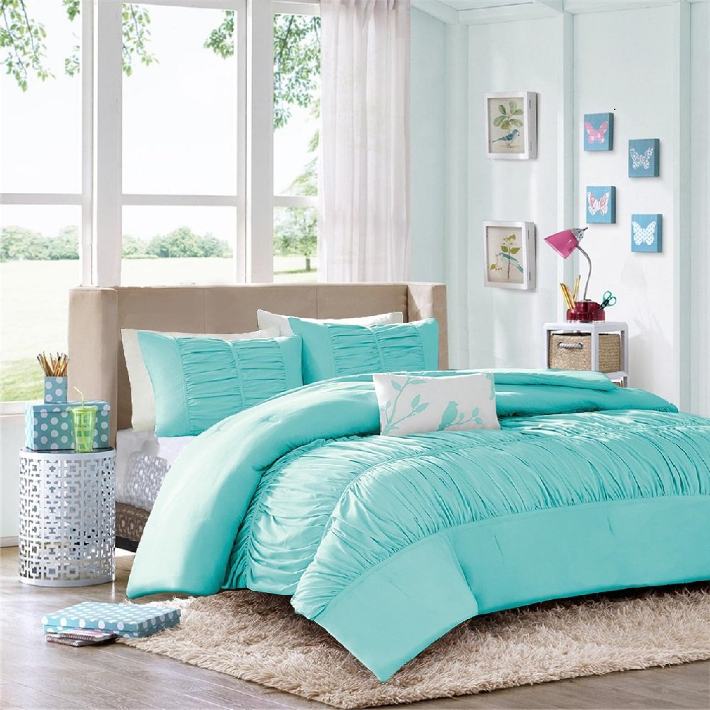 Modern Girls Kids Teen Bedding Aqua Light Blue Tufted Ruffled Ruched Comforter Set