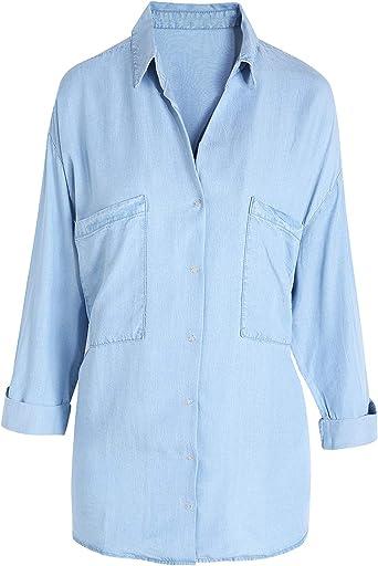 Escalier Camisa de Mezclilla para Mujer, Cambray Tencel de Manga Larga con Botones - - 46 ES X-Large: Amazon.es: Ropa y accesorios