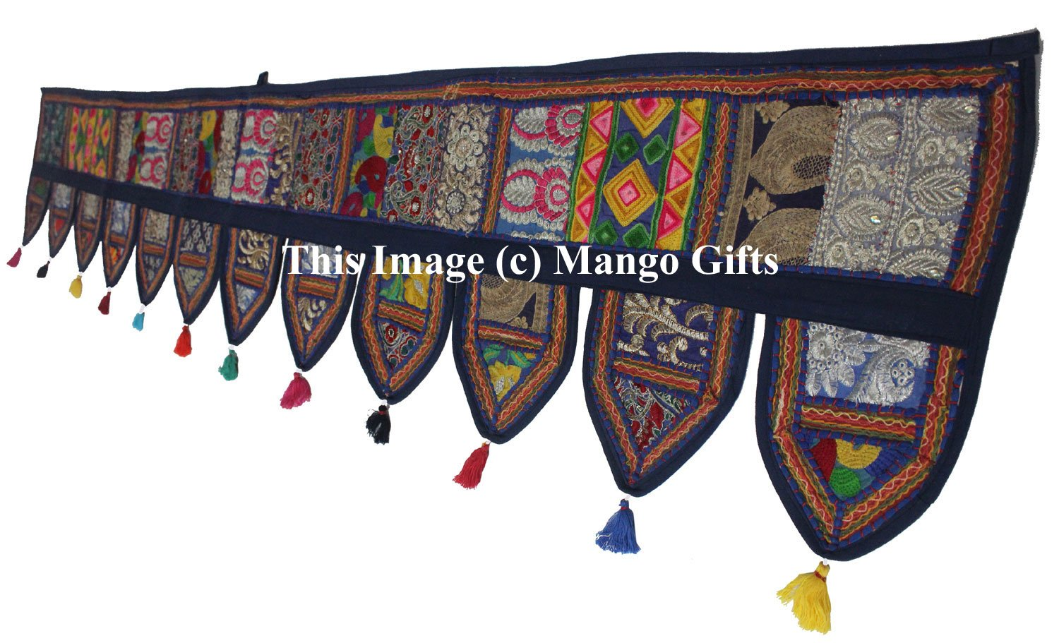 Christmas Decorative- ''80'' Cotton Ethnic Wall Hanging Home Decor Vintage Patchwork Door Topper Valances Window Indian Valances Hand Embroidered Patchwork Toran Boho Bohemian Decor Living Room Decor GANESHAM