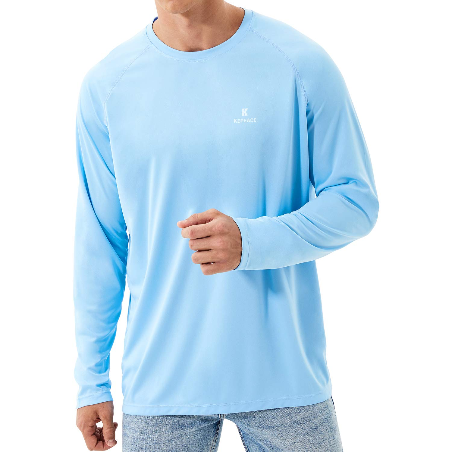 Sun Protection Hoodie Long Sleeve T-Shirt for Fishing Hiking Running Kepeace Mens UPF 50