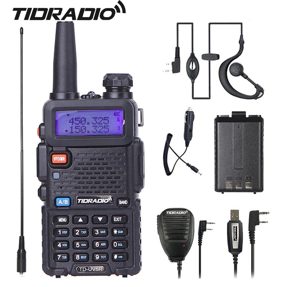 UV-5R Walkie Talkie, Dual Band Two Way Radio with One More 1800Mah Battery One Hand Mic.and One TIDRADIO NA-771 Antenna Ham Radio