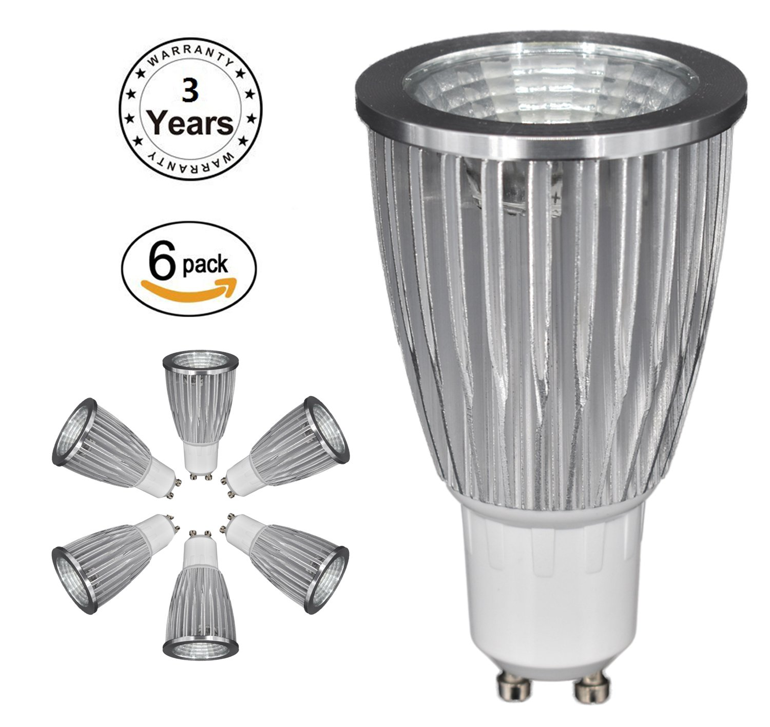 Manufacturers' Direct Sales,GU10 LED Light Bulb, COB, IC Constant Current Intelligent Power Supply,Non-dimming,3W,5W,7W, 3 YEARS WARRANTY (White, 7W 6 of pack)